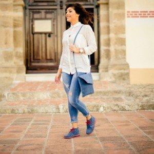 Bicolor Jeans-rot Damen Stiefel