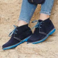 Bicolor Marineblau-Himmelblau Damen Stiefel