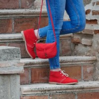Women sheepskin Desert boots in Red color